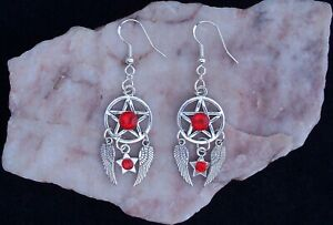 Red Glass Diamante Pentagram,Star & Angel Wings,925 Silver Hook Earrings
