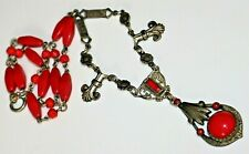 Art Deco Bright Red Czech Glass Silver Floral Necklace