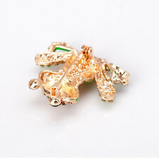 Women Crystal Green Frog Lapel Pin  Brooch Pin Badges Clothes Bags Girls Gift 6A
