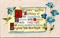 Antique Vtg 1910's FLOWERS POEM Happy Birthday Wishes Greeting Postcard