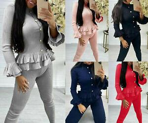 New Womens Ladies Ribbed Frill Peplum Button Loungewear Suit Tracksuit Set UK