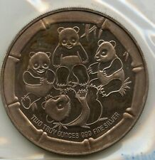 Panda Bears 2 Troy Oz. .999 Silver Art Round Medallion - RY068