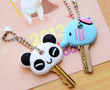 Cute Cartoon Elephant Panda Head Cover Key Top Cap Chain Keyring Key Case