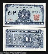 KOREA SOUTH 10 JEON P28 1962 CUTE LITTLE UNC CURRENCY KOREAN MONEY BILL BANKNOTE