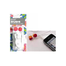 PEACE SIGN EAR BUDS -PINK/ORANGE - EARPHONES - EARBUDS