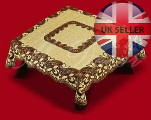 """Square russet/dark brown lace tablecloth NEW 160cm x 160cm (63""""x63"""") Xmas gift"""