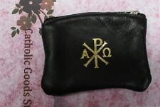 Chi Rho - Black  Sheepskin Leather Rosary with Velveteen Lining
