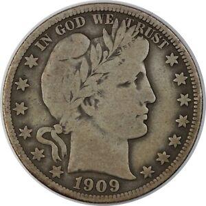 1909 United States Barber Half-Dollar 50c - F Fine Condition