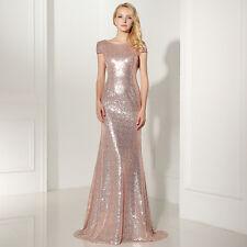 Lang Mermaid Brautjungfernkleid Hochzeit Pailletten Abend Ballkleid Partykleid