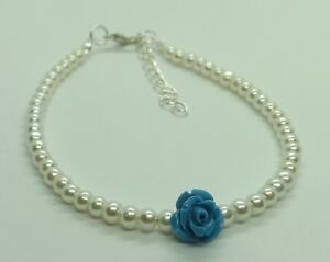 """Something Blue"" Glass Pearl Beads White/Ivory Flower Anklet Bridal Wedding"