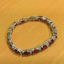 "GB Red ruby & sim diamond 7""/19cm silver links bracelet (white gold gf) BOXED"
