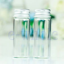 10Pcs Small Tiny Empty Clear Bottles Glass Vials 22x60mm With Screw Lid 14ml H5