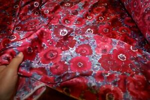 1m x 1.47m 'RED FLORAL PASSION' Sandwashed Sateen Print Fabric, Sewing Material