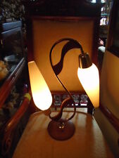 EXCEPTIONAL PAIR MCM MID CENTURY ATOMIC TEAK  TABLE LAMPS - 5 WAY SWITCH