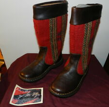 Born Tizoc Indian Blanket Wool Brown Leather Size 6 Mid Calf Fashion Boots