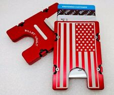 AMERICAN FLAG, Billet Aluminum Wallet/Credit Card Holder , RFID protection, Red