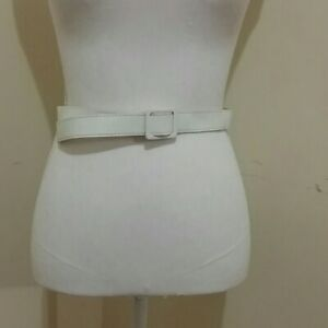 """Imitation leather white belt 36"""", buckle-less EUC"""