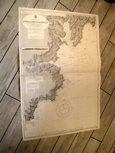 Vintage Admiralty Chart 154 ENGLAND - APPROACHES TO FALMOUTH 1943 edn
