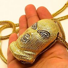 """MENS HIP HOP ICED OUT GOLD GOON SKI MASK PENDANT W/ 36"""" FRANCO CHAIN NECKLACE"""