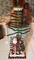 """Very Nice 12"""" Resin Santa Claus & Bear w/ Tree Christmas Holiday Figurine Figure"""
