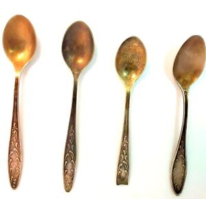 19 Vintage Spoons Brass Plated Silver Souvenir copper Spoon set 4 pcs Cutlery