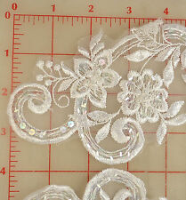 """4 beautiful beaded sequins white applique pairs embroidered flower design 11""""x3"""""""