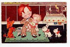 Animal CHIEN Chiens DOG dogs 92 carte fantaisie illustrateur enfant homme cage