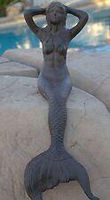 Cast Iron Sitting Mermaid Figure Nautical Decor Statue