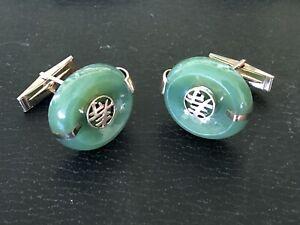 Antique 14 Kt Gold Jade Cufflinks
