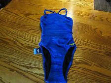 "Speedo Endurance Lite ""Blue Harmony"" Lined 1 Piece Swimsuit Women's SZ 28 NWT"