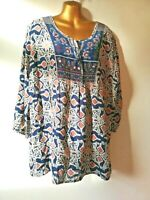 Peacocks 20 Blue Pink Embroidered 3/4 Sleeve Cotton Feel Tunic Blouse
