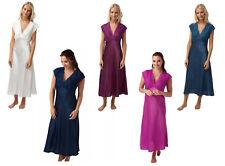 Ladies Long Satin Nightdress Navy or Fuchsia/Pink Size 10-28