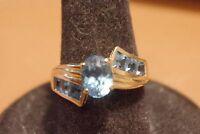 Vintage 10k Solid Gold & Blue Topaz Ring