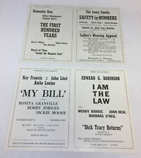 two 1938 movie promo sheets ~ MARIE ANTOINETTE, BOOLOO, I AM THE LAW, more