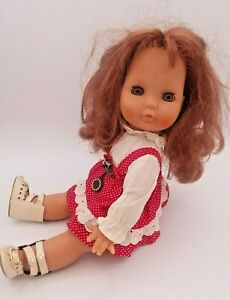 "Vintage Zapf Halloween Spook Doll Auburn Sleepy Eyes Red Country Dress 12"" Scary"