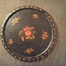 """Vintage 14 3/4"""" Round Tole Toleware Tray Textured Top Must SEE !!!"""