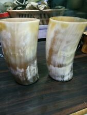 Game Of Thrones 2 pcs Drinking Horn Mug Cup Beer Wine Mead Ale w/ designer Brass