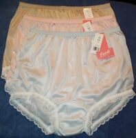 """3 Pastel Color Nylon Panties with VINTAGE Leg & 1"""" Fancy Lace & Elastic USA Made"""
