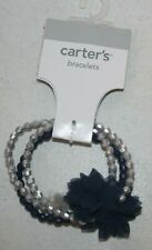 New Carter's 3 Strand Girls Bracelet Jewelry Accessory Silver Navy Blue Tulle Fl