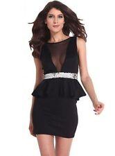Sleeveless V Neck Peplum Dresses Size Petite for Women