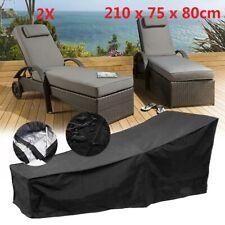 2X Black Waterproof Sunbed/Sun Lounger Garden Furniture Cover Patio Rattan Bed