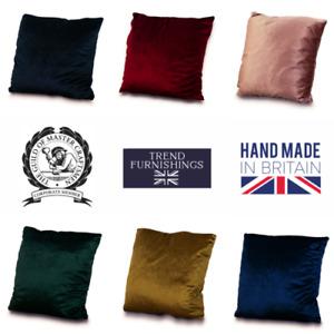 4 x Plain Luxury Velvet PLUSH Cushion Cover LARGE FILLED PADS - FREE POST