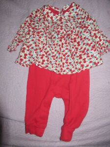 euc Baby Gap red floral romper with attached baby doll top baby girl 3 m 6 m