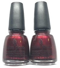 China Glaze Nail Polish Short & Sassy 732 Wine Red with Gold Shimmer Lacquer