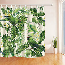 Tropical Plant Parrot in Palm Tree Bathroom Shower Curtain Fabric w/12 Hooks 71""