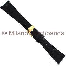 14mm Band-It Genuine Crocodile Black Flat Stitched Ladies Watch Band Short