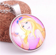 Charm Sexy Girl With Sunglass Photo Cabohcon Glass Silver Chain Pendant Necklace
