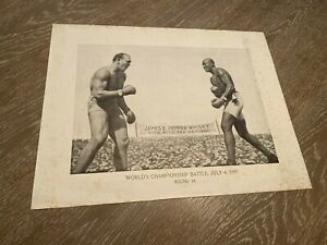 Johnson Jeffries Fight Boxing 1910 James Pepper Whisky Advertising Paper Photo