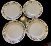 4 Creative Fine China Japan 2345 Regency Rose Dinner Plates Set of 4, Pink Green