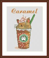 Caramel cat cross stitch pattern Funny cartoon cat coffee embroidery PDF chart